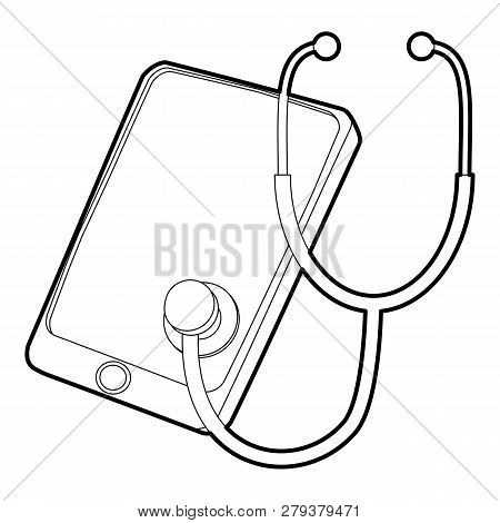 Gadget In Diagnostic Process Icon. Outline Illustration Of Gadget In Diagnostic Process Icon For Web