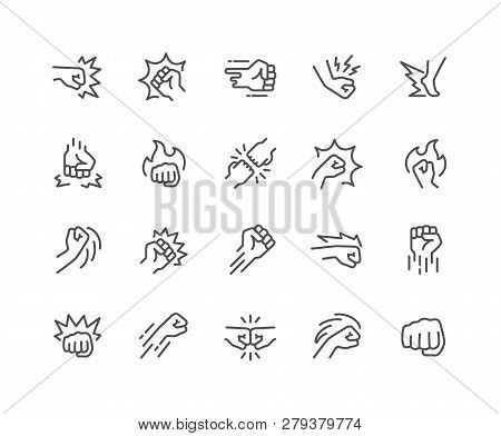 Simple Set Of Fight Related Vector Line Icons. Contains Such Icons As Fist Bump, Hit, Strike And Mor