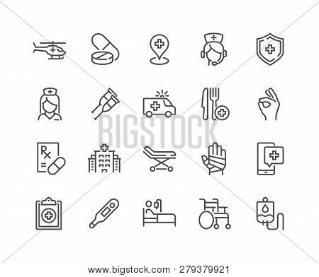 Simple Set Of Medical Assistance Related Vector Line Icons. Contains Such Icons As Wheelchair, Speci