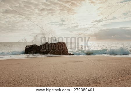 Breton Beach In Quiberon In The Evening With Heavy Waves.