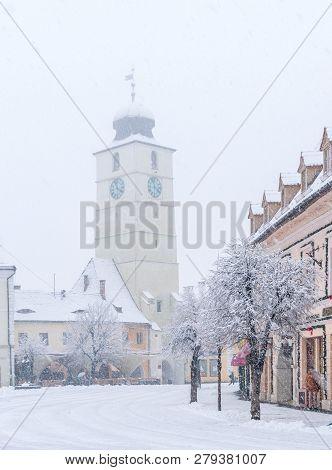 Sibiu, Romania - January 17, 2018: Council Tower Of Sibiu On A Winter Day In Sibiu, Transylvania Reg