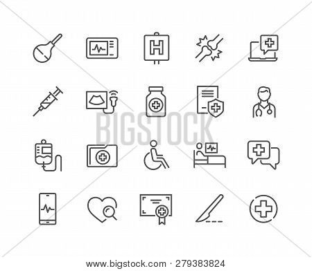 Simple Set Of Medical Related Vector Line Icons. Contains Such Icons As Doctor, Ultrasound, Case His