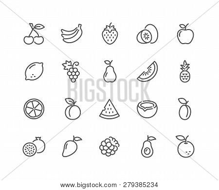 Simple Set Of Fruits Related Vector Line Icons. Contains Such Icons As Strawberry, Orange, Watermelo