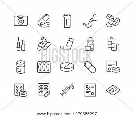 Simple Set Of Medical Drugs Related Vector Line Icons. Contains Such Icons As Prescription, Inhaler,