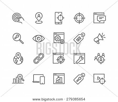 Simple Set Of Seo Related Vector Line Icons. Contains Such Icons As Target, Watch List, Website Stat