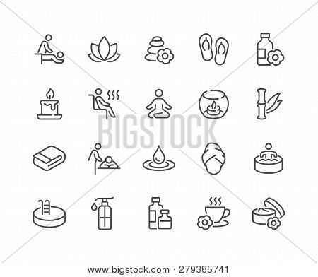 Simple Set Of Spa Related Vector Line Icons. Contains Such Icons As Massage, Candle, Sauna And More.