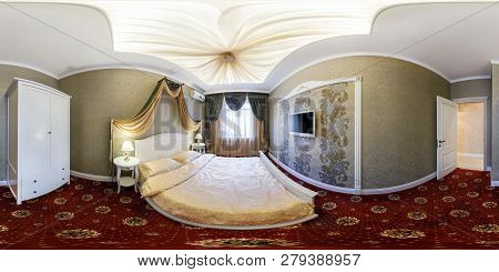 Minsk, Belarus - February, 2014: Full Spherical Seamless Panorama 360 Degrees Angle View  In Interio