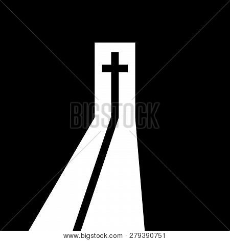 Christian Cross In The Open Door. Christian Symbol. Way From The Darkness To The Light, To Belief, T