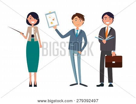 Man Holding Business Plan And Woman With Pointer In Hands Vector. Director Showing Analysis Of Work,