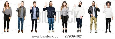 Collage of people over white isolated background Waiving saying hello happy and smiling, friendly welcome gesture