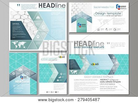 Social Media Posts Set. Business Templates. Abstract Design Template, Vector Layouts In Popular Form
