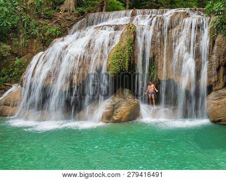 Bangkok, Thailand, 31st December 2018, Seven Tiers Of Waterfalls At Erawan National Park. Erawan Wat