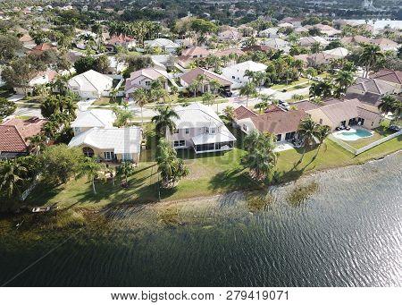 Aerial View Of Waterfront Properties In Florida