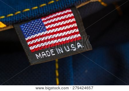 Made in USA textile tag on the backpack, macro