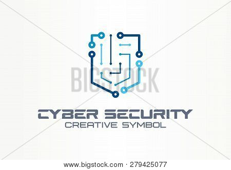 Cyber Security Creative Symbol Technology Concept. Smart Digital Shield In Abstract Business Logo. C