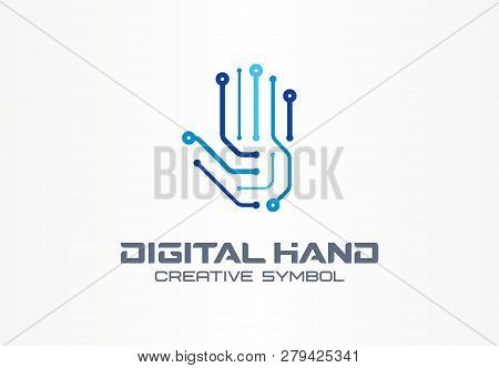 Digital Hand Creative Symbol Concept. Robot Arm, Futuristic Technology, Cyber Security Abstract Busi
