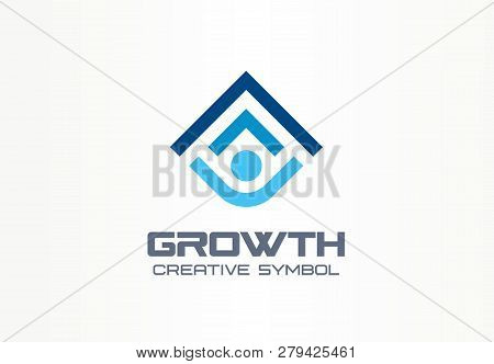 Growth Creative Symbol Concept. Human Professional Progress Abstract Business Leader Logo. Person Ca