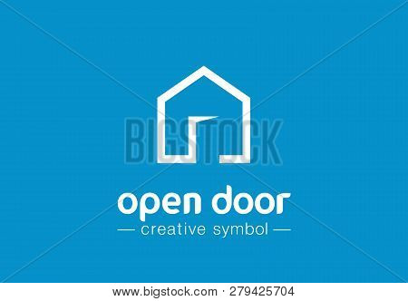 Open Door Creative Symbol Concept. Home Button, Build Architecture, Real Estate Agency Abstract Busi