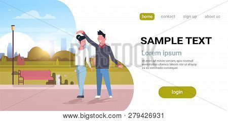 Couple Dancing Together Man Woman Having Fun City Urban Park Cityscape Background Happy Lovers Male