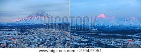 Set Of Panoramic View Of The City Petropavlovsk-kamchatsky And Volcanoes: Koryaksky Volcano, Avacha