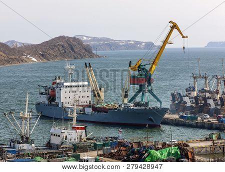 Petropavlovsk-kamchatsky, Kamchatka Peninsula, Russia - 4 May, 2018: Panorama On Ships At Pier, Port