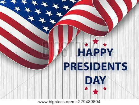 Happy Presidents Day Background Template.  United States Happy Presidents Day - Poster With Flag Of