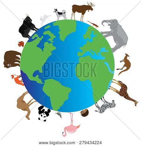 Vector Illustration Of A Planet Earth With Animals Walking Around It.