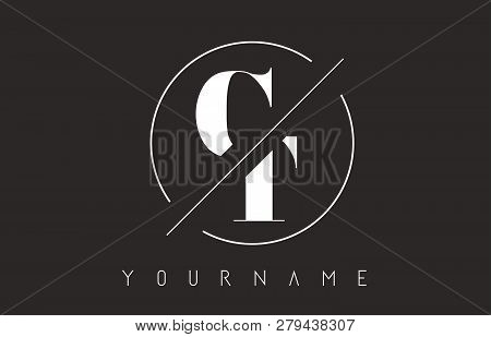 Ct Letter Logo With Cutted And Intersected Design And Round Frame Vector Illustration
