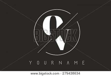 Ov Letter Logo With Cutted And Intersected Design And Round Frame Vector Illustration