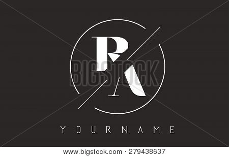 Ra Letter Logo With Cutted And Intersected Design And Round Frame Vector Illustration