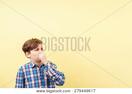 bad smell, stink, squeamishness,  repulsion. boy with disgusted face expression covering nose poster