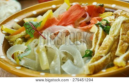Ashlyamfu,starch noodles,  Kyrgyz  cuisine, Traditional assorted dishes, Top view. poster