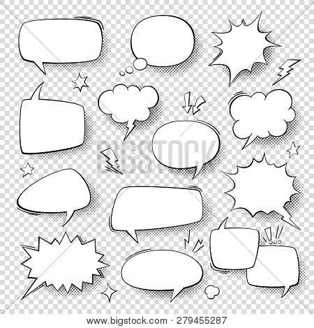 Speech Bubbles. Vintage Word Bubbles, Retro Bubbly Comic Shapes. Thinking And Speaking Clouds With H