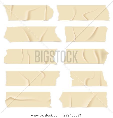 Adhesive Tape. Old Paper Scotch Tapes, Masking Sticky Pieces Realistic Strips. Isolated Vector Illus