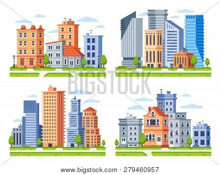 Real Estate Buildings. City Houses Cityscape, Town Apartment House Building And Urban Residential Di
