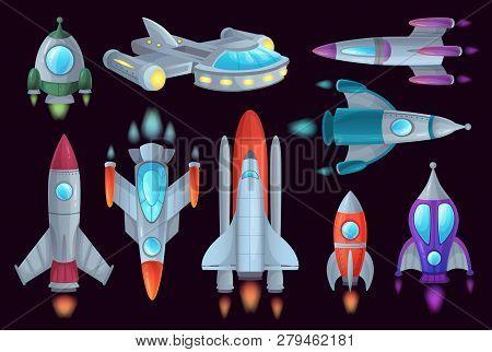 Cartoon Rockets. Space Rocketship, Aerospace Rocket And Spacecraft Ship Isolated Vector Illustration
