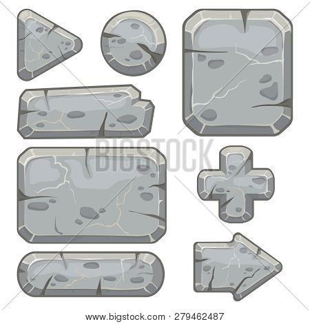 Stone Frame. Rubble Rocks Banner, Stones Block Arrows And Gravel Rock Tablet Frames Isolated Vector