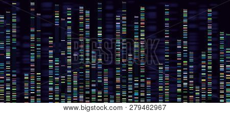 Genomic Analysis Visualization. Dna Genomes Sequencing, Deoxyribonucleic Acid Genetic Map And Genome