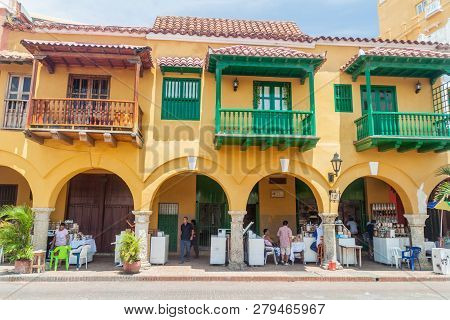 Cartagena De Indias, Colombia - Aug 28, 2015: Colonial Houses At The Plaza De Los Coches Square In C