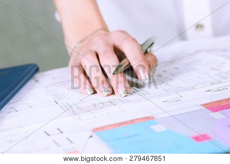 Real Estate Creative Studio Office. Architect Woman Working On Architectural Project For Interior De