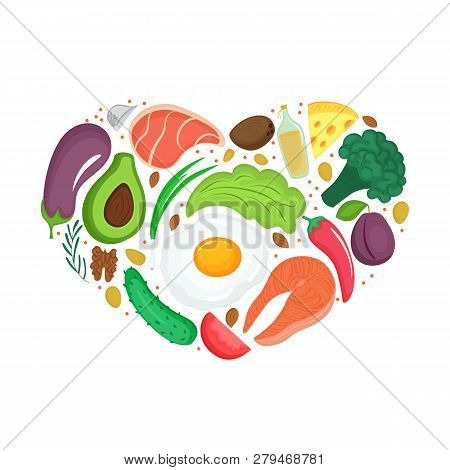 Keto Food. Ketogenic Diet With Organic Vegetables, Nuts And Other Healthy Eat. Low Carb Nutrition. P