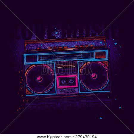 Boombox. Retro Portable Stereo Radio Cassette Player. Original Vector Illustration In Neon Style.