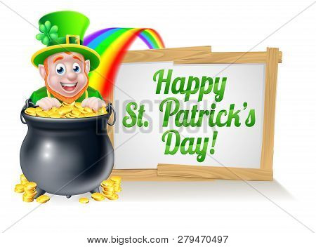 Leprechaun Cartoon St Patricks Day Character Peeking Over A Pot Of Gold At The End Of The Rainbow Wi