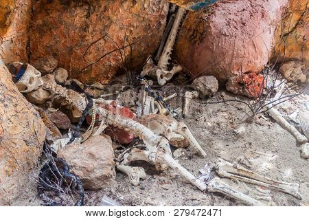 San Bernardo, Colombia - August 31, 2015: Model Of Pirate Skeletons On Palma Island Of San Bernardo