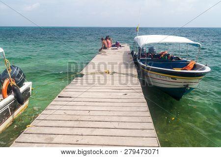 San Bernardo, Colombia - August 31, 2015: Wooden Pier At Mucura Island Of San Bernardo Archipelago,