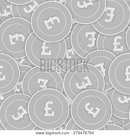 British Pound Silver Coins Seamless Pattern. Splendid Scattered Black And White Gbp Coins. Success C