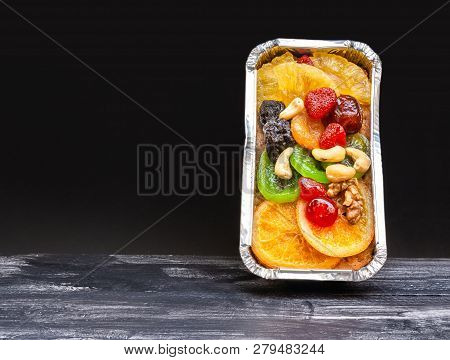 Fruitcake Pasted With Sweetend Fruits In Foil Box