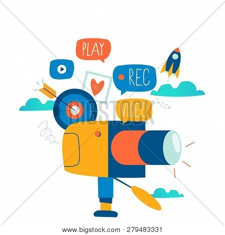 Video Camera Production, Filming Video Footage Flat Vector Illustration Design. Video Streaming, Dig