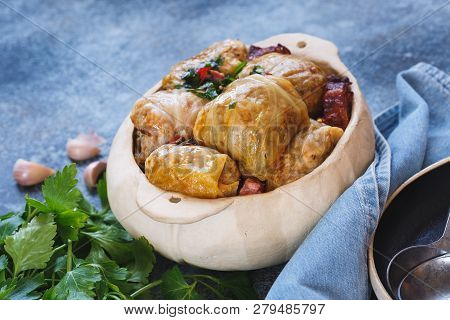 Cabbage Rolls Stuffed With Meat And Rice In Pot, Ready To Eat. Selective Focus, Blank Space