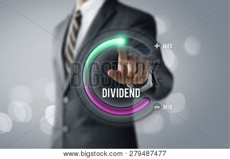 Dividend Growth Or Increase Dividend Concept. Businessman Is Pulling Up Circle Progress Bar With The